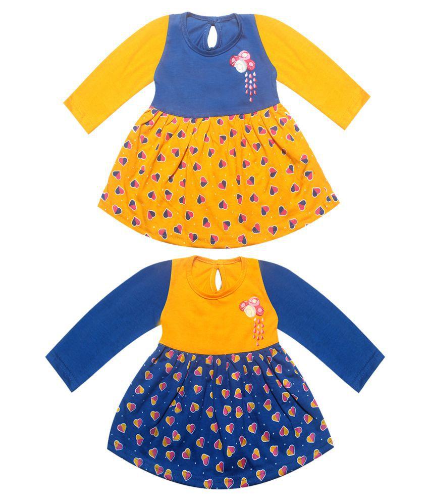 KidzzCart baby girl's cotton frock dress (Pack of 2)