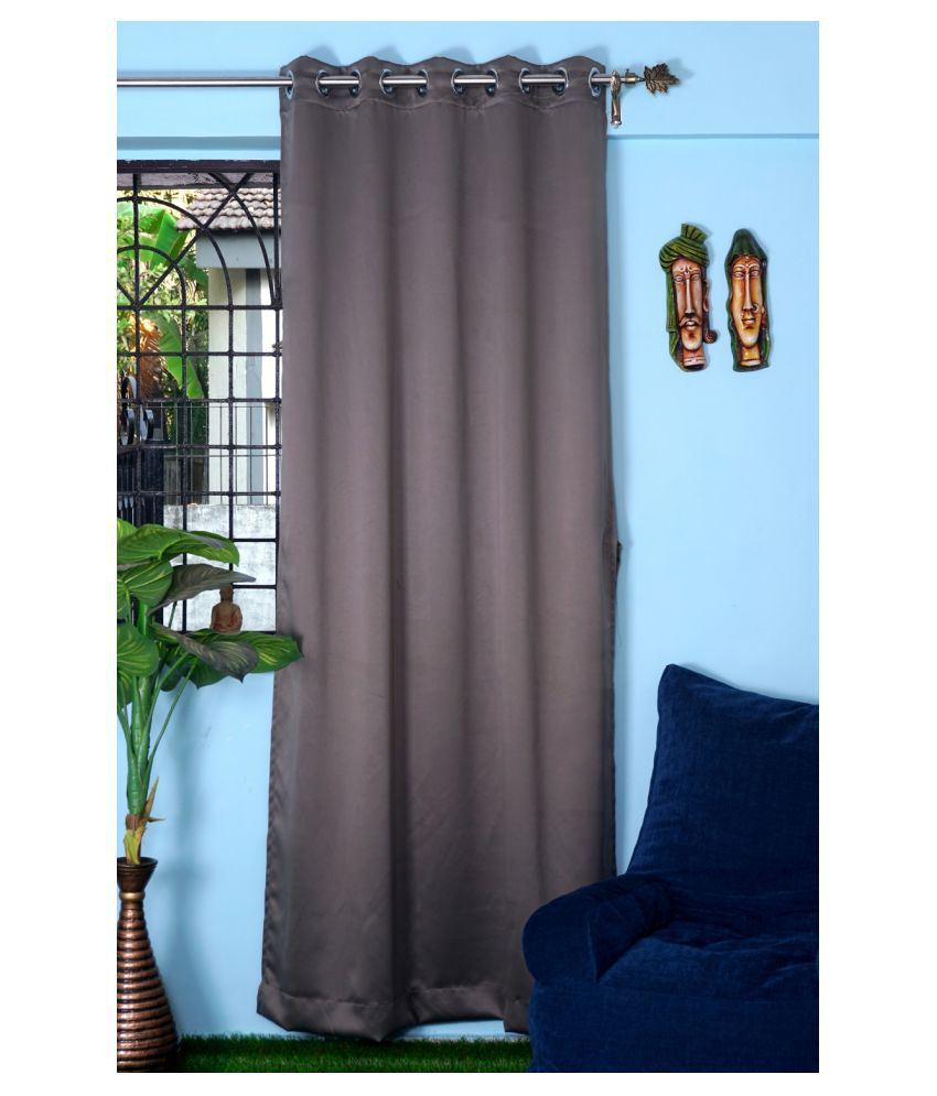 PardaOnline Single Window Blackout Room Darkening Eyelet Polyester Curtains Grey
