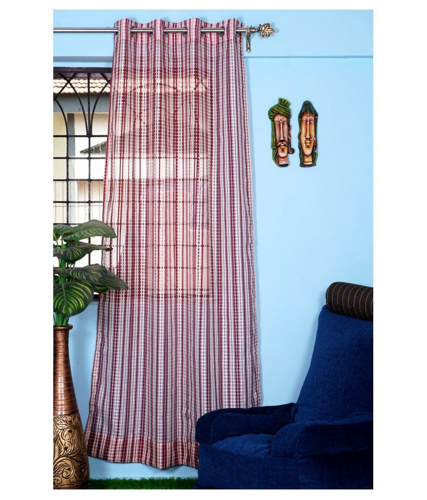 PardaOnline Single Window Transparent Eyelet Net Curtains Maroon