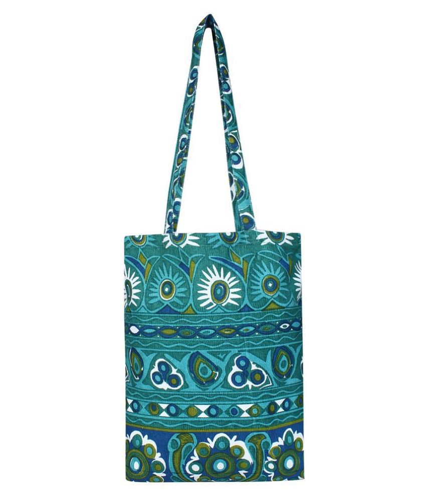 Anekaant Turquoise Canvas Shoulder Bag
