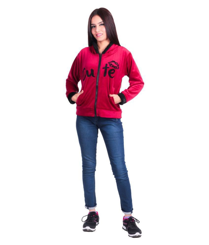Be unik Woollen Pink Hooded Sweatshirt