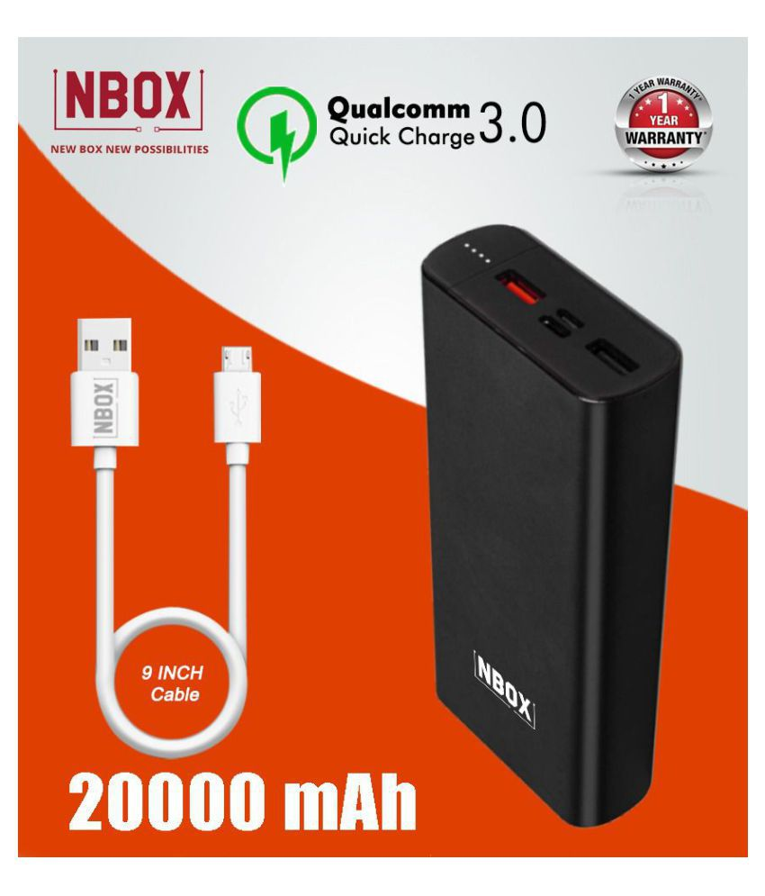 NBOX K2 Qualcomm Quick Charge 3A 20000 -mAh Li-Polymer Power Bank With Type C & Micro USB Inputs- Black