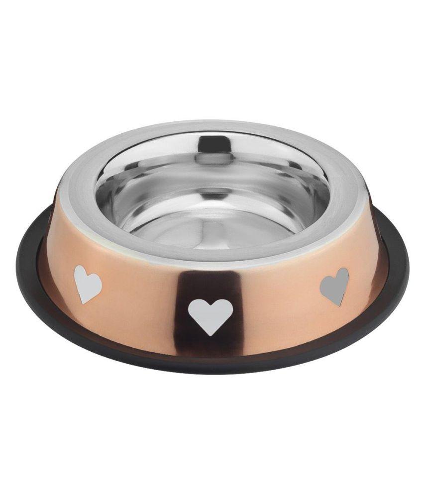 Prinox Stainless Steel Stylish Heart Design Dog Bowl,Copper
