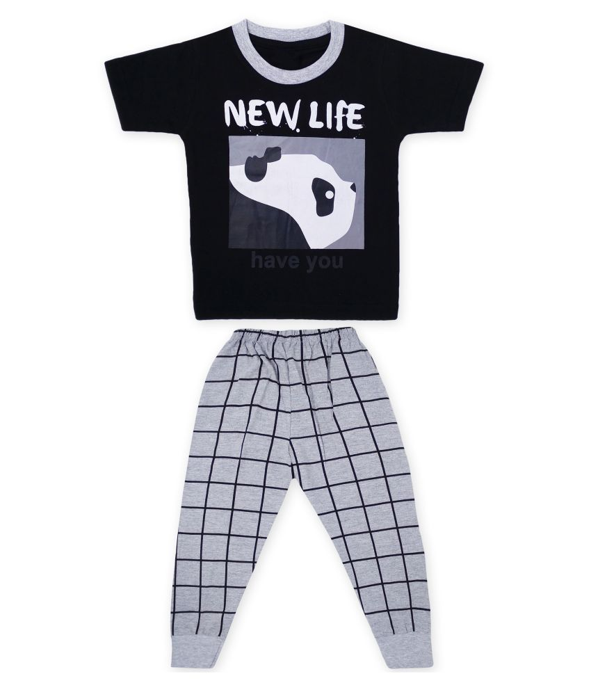 The Boo Boo Club Kid's Boy's  Soft Cotton Half Sleeves T-Shirt with Pant/Pyjama Set