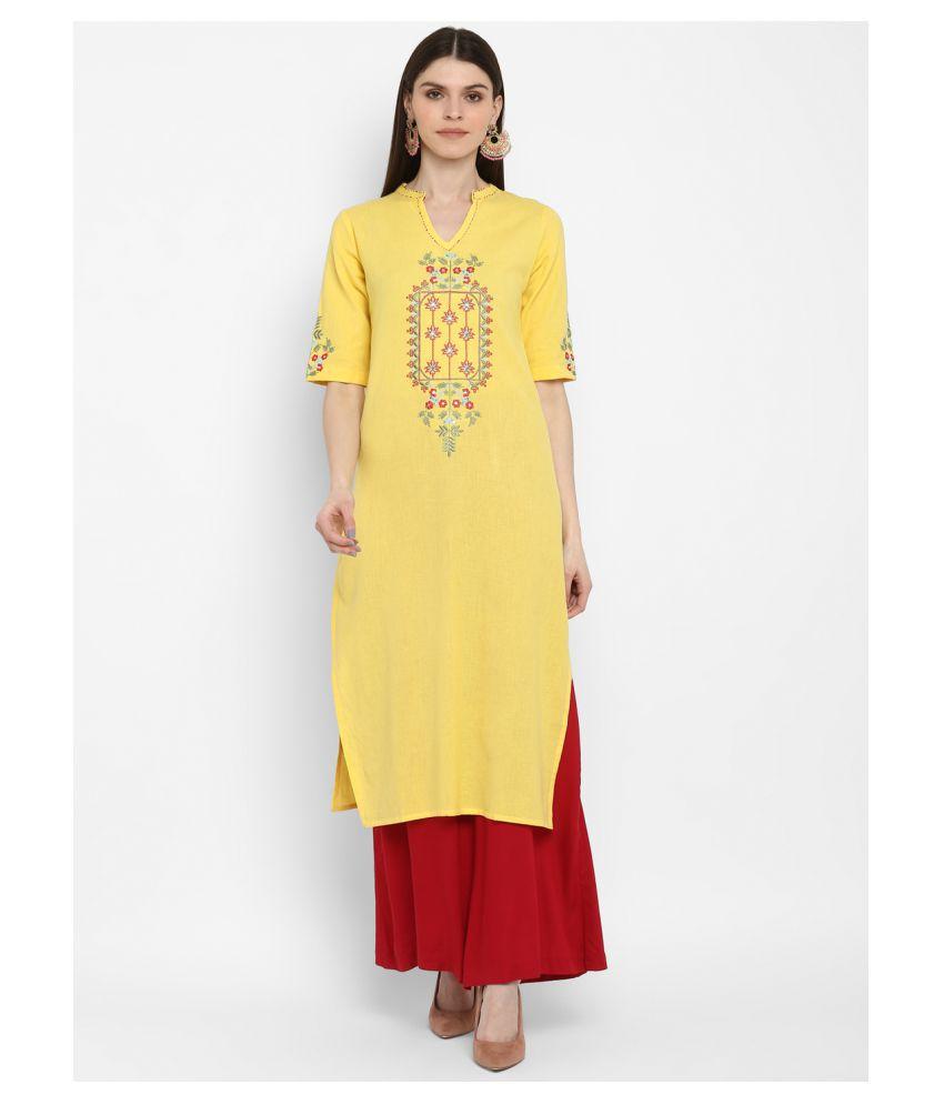 Vbuyz Yellow Cotton Straight Kurti