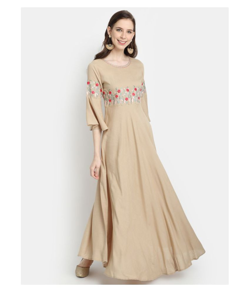 Charu Rayon Beige Fit And Flare Dress