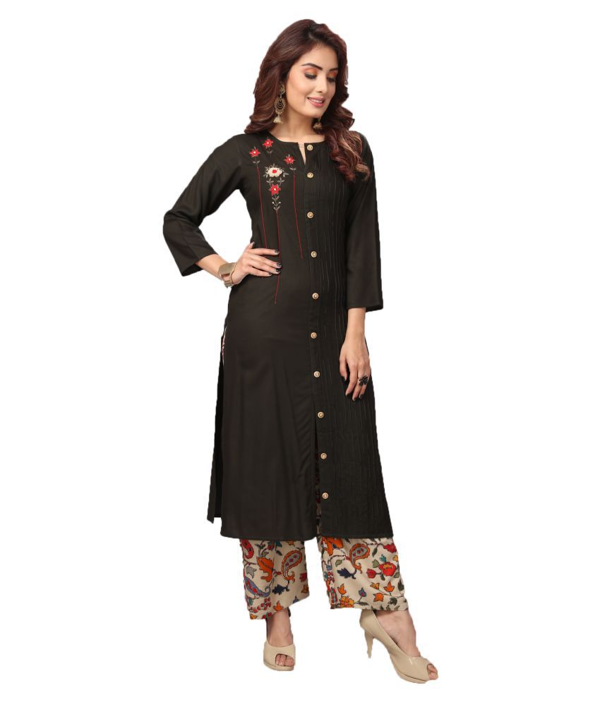 Madhuram Textiles Black Rayon Anarkali Kurti