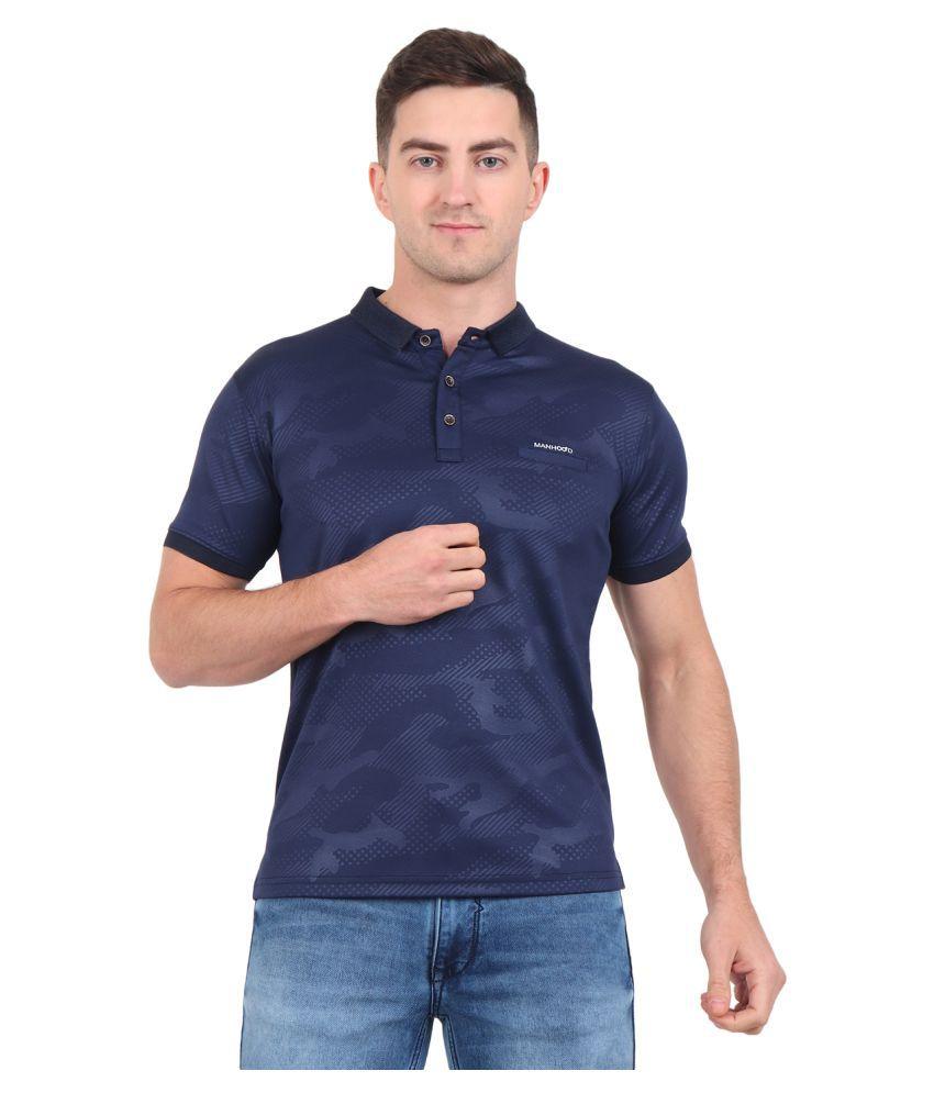 ManHood Polyester Lycra Blue Printed Polo T Shirt