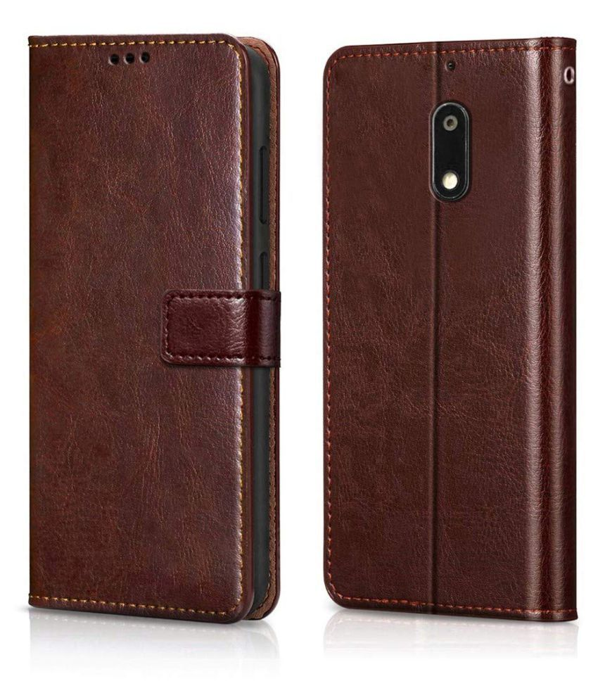 Nokia 6 Flip Cover by Wow Imagine   Brown
