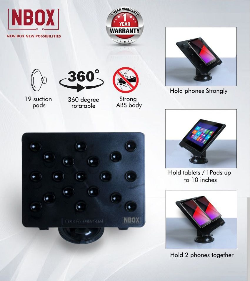 NBOX Multipurpose Desktop Phone Holder for iPad, Tablets - Black