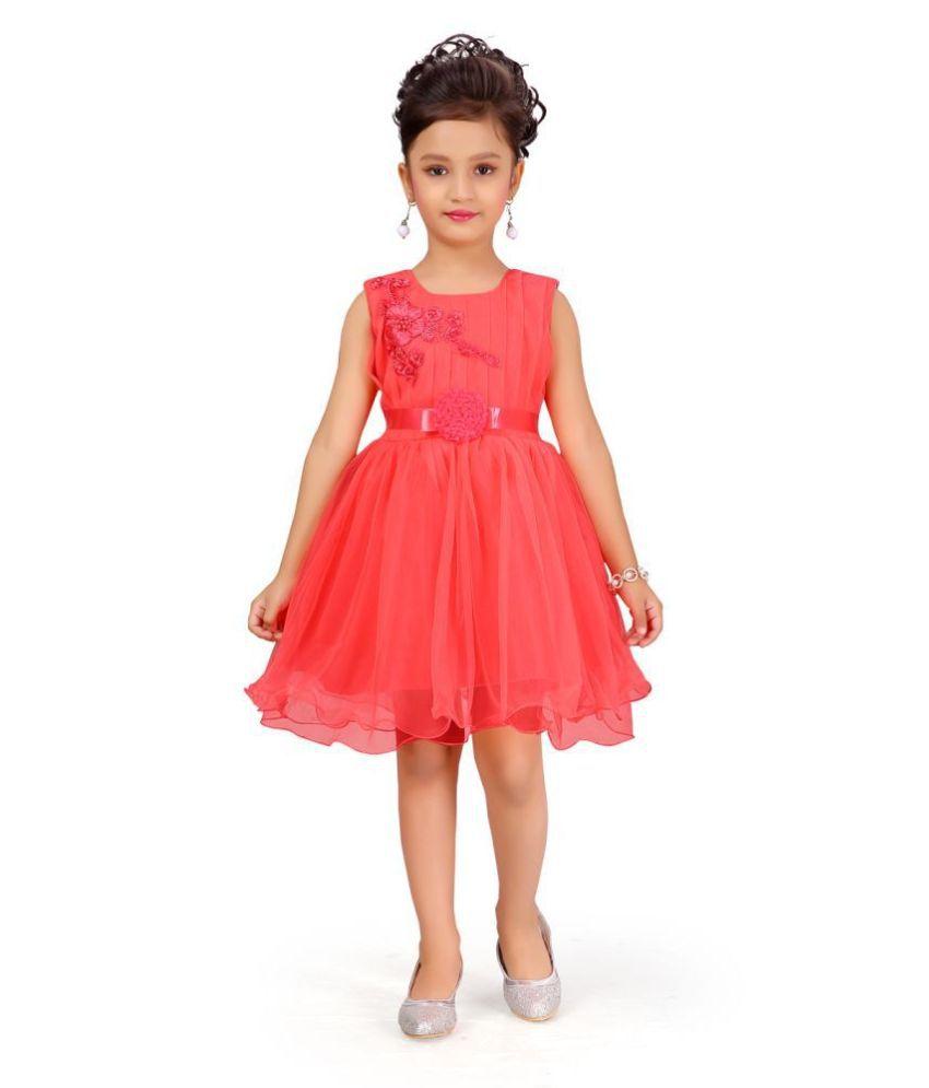 Aarika Girl's red coloured Party Wear FROCK