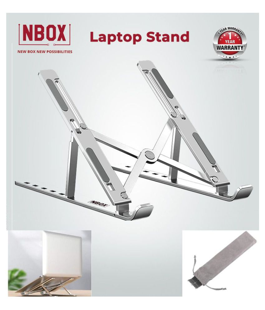 NBOX Adjustable Laptop Stand for Desk,a Foldable Height Adjustable Aluminum Laptop Stand Compatible with All Laptops & MacBook - Silver