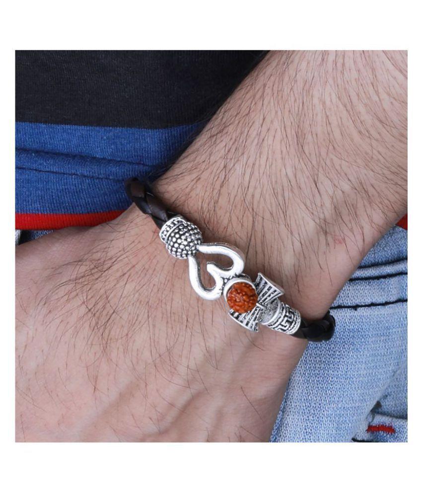Rudraksha OM Trishul Damroo Designer Oxidized Silver Bahubali Leather Kada Bracelet Unisex Bracelets for Men & Women