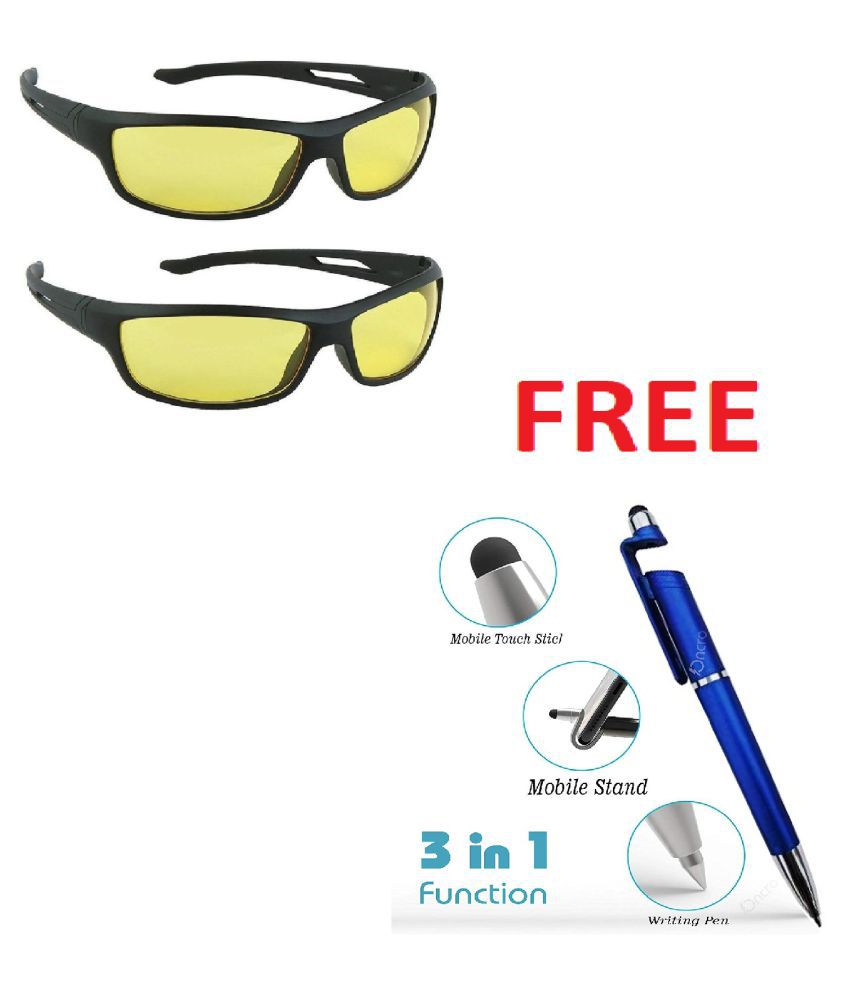 Yellow Lens Black Frame Night Vision Driving Sunglasses for Men and Women With Free Gift (PACK 2)