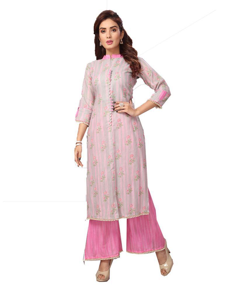 Madhuram Textiles Pink Rayon Anarkali Kurti