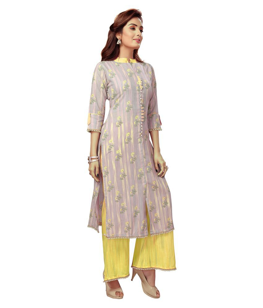 Madhuram Textiles Yellow Rayon Anarkali Kurti