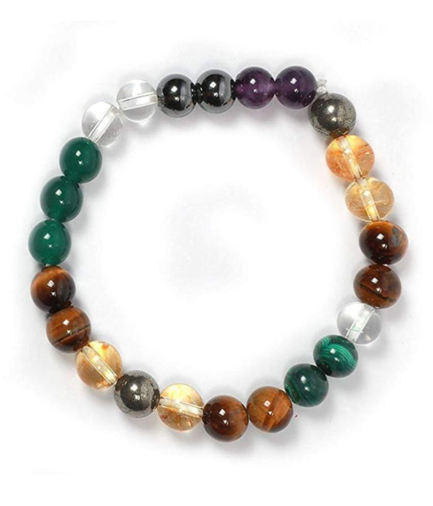 8mm Multi Colour Money Magnet Natural Agate Stone Bracelet