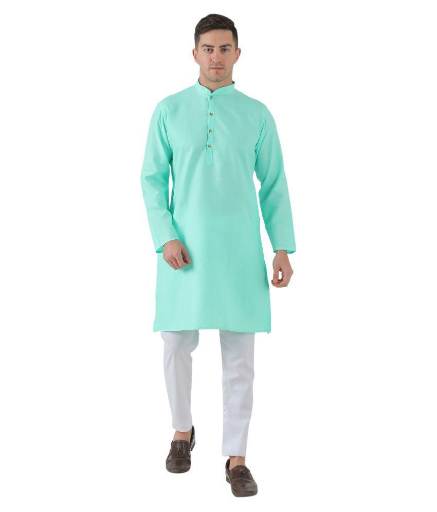 Inspire Clothing Inspiration Blue Cotton Blend Kurta Pyjama Set Pack of 1