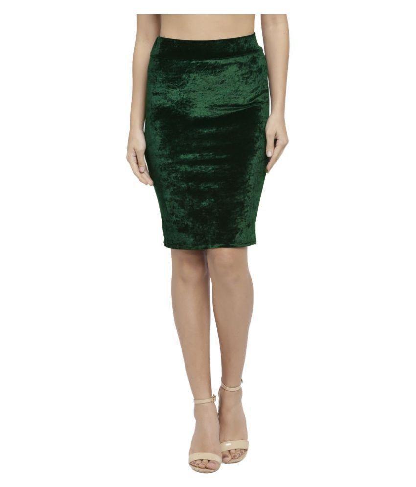 Avenew Fashions Velvet Pencil Skirt - Green