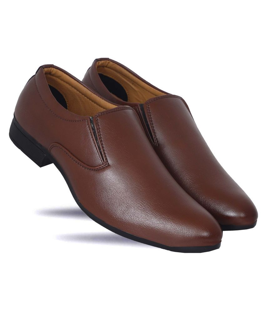 Delvin & Kabana Office Artificial Leather Tan Formal Shoes