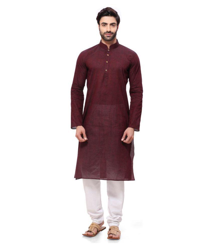 RG Designers Maroon Cotton Kurta Pyjama Set Single Pack