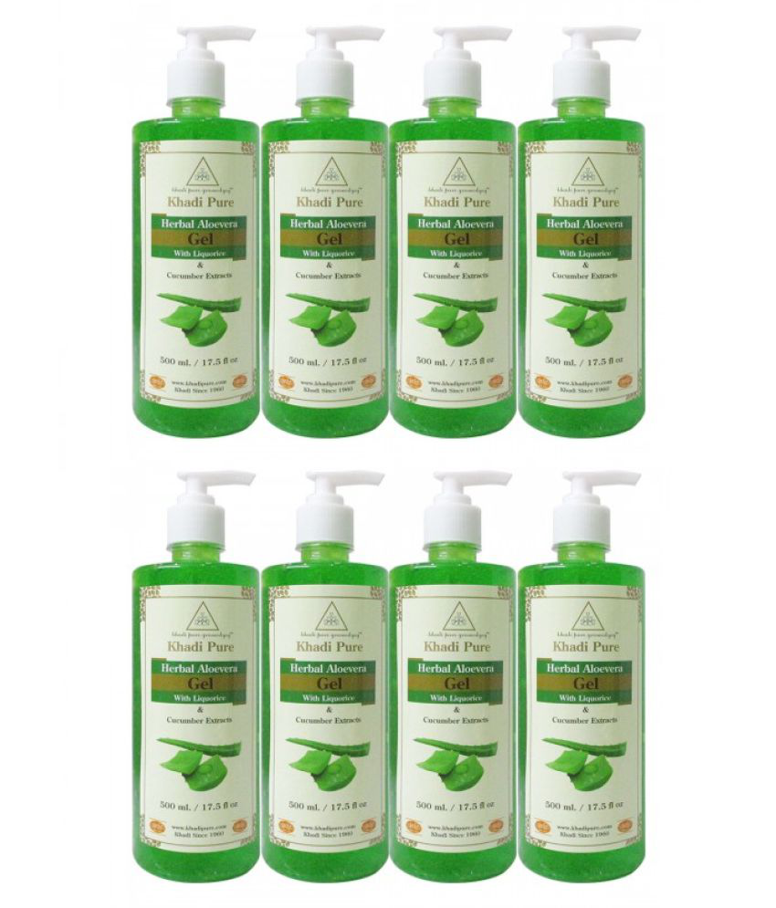 Khadi pure gramodyog Aloevera Green Gel - 500ml Facial Kit mL Pack of 8