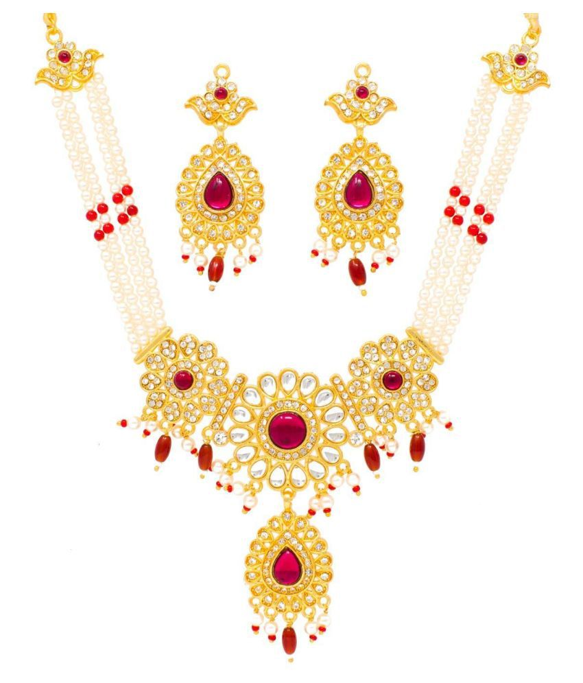 Meira Jewellery Alloy Golden Necklaces Set matinee