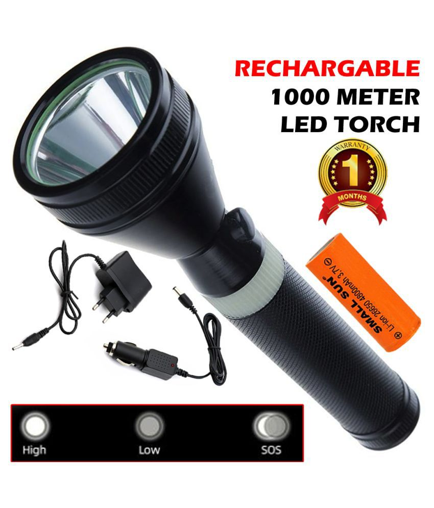 DH 600 Meter Long Range 2 Mode Rechargeable Torch 15W Flashlight Torch 15W Flashlight Torch - Pack of 1