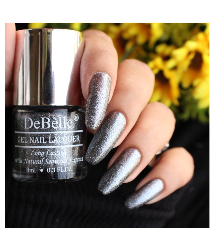 DeBelle Grey Glitteratti Nail Polish Silver Glitter 8 mL