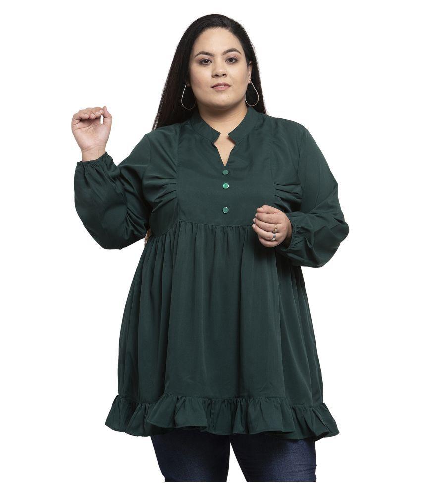 FLAMBEUR Crepe Green Regular Dress