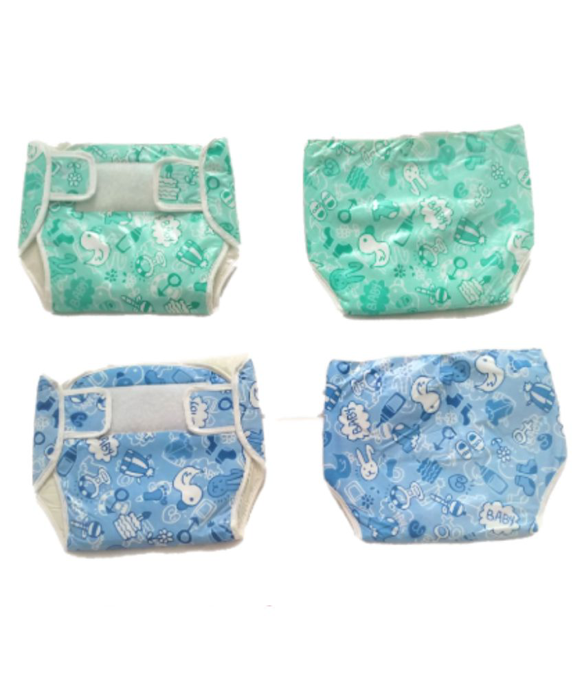 4 SETS REUSABLE DIAPER WITH CLOTH INSERTS