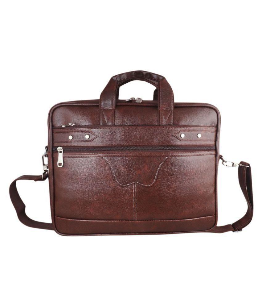 SW Super World Messenger Bag Brown P.U. Office Messenger Bag