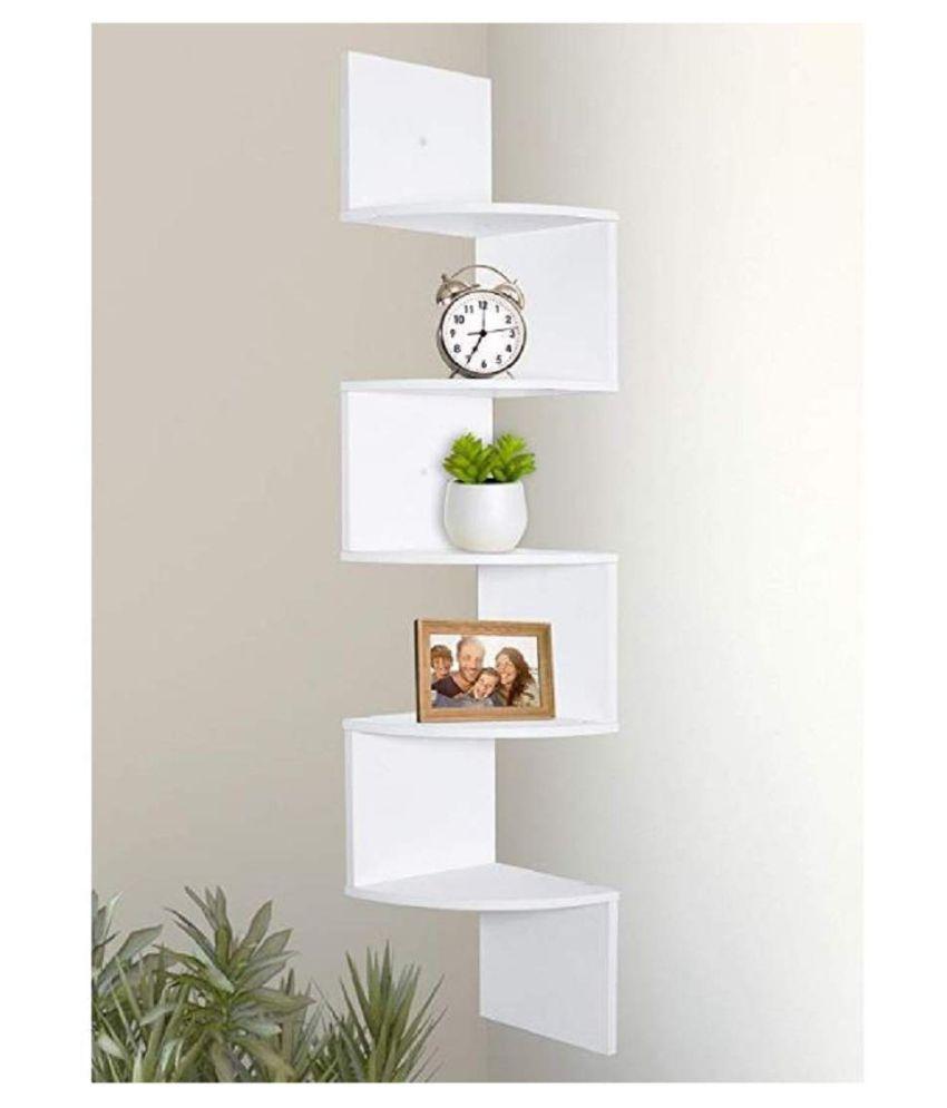 Surya Wood Art 5 Tier White Zigzag Corner Wall Mount Shelf Unit for Home Décor Unit Shelves