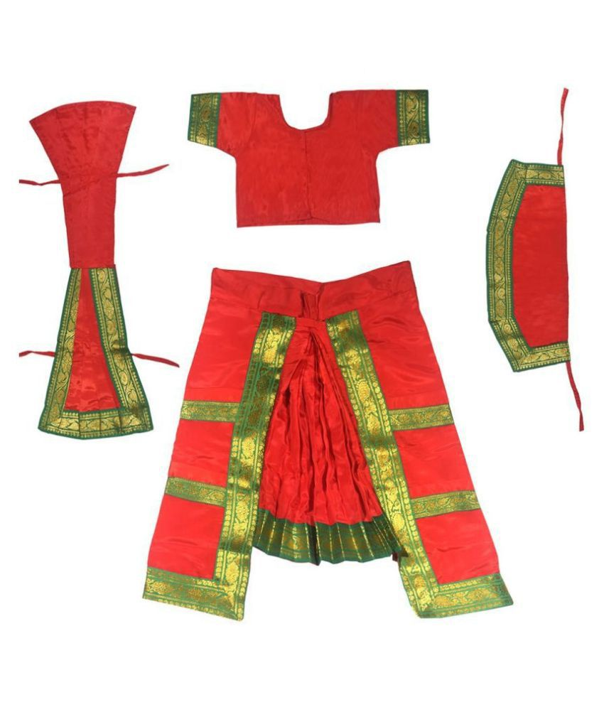 Fancy Dressup Orange Bharatnatyam dress for 4 to 6 year girls