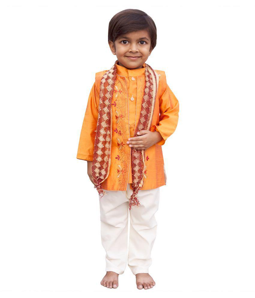 Toon Toon Baby Boys Indo western traditional ethnic festival wear kurta, waistcoat and breeches
