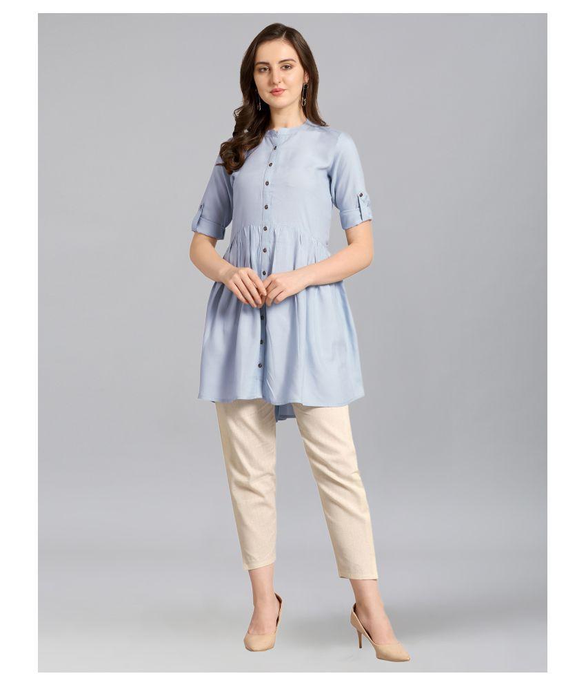 Selvia Rayon Blue Regular Dress