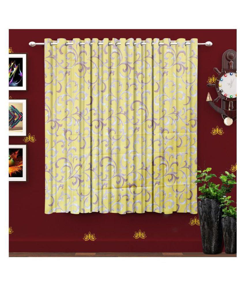 Hometique Single Window Semi-Transparent Eyelet Polyester Curtains Yellow