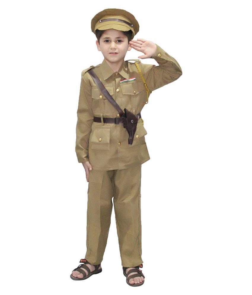 Kaku Fancy Dresses Our Helper/National Hero Policeman Costume -Khaki, 10-12 Years, for Boys & Girls