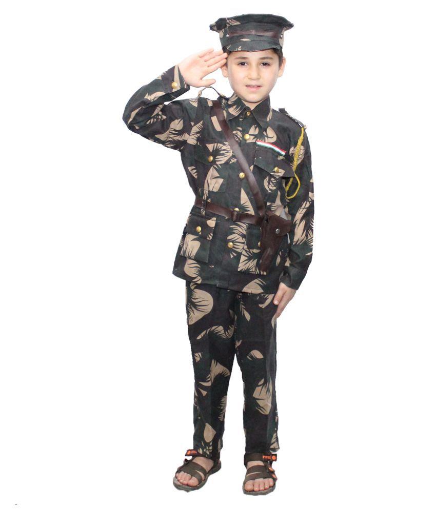 Kaku Fancy Dresses Our Helper/National Hero Indian Military Costume -Green, 2-3 Years, for Boys & Girls
