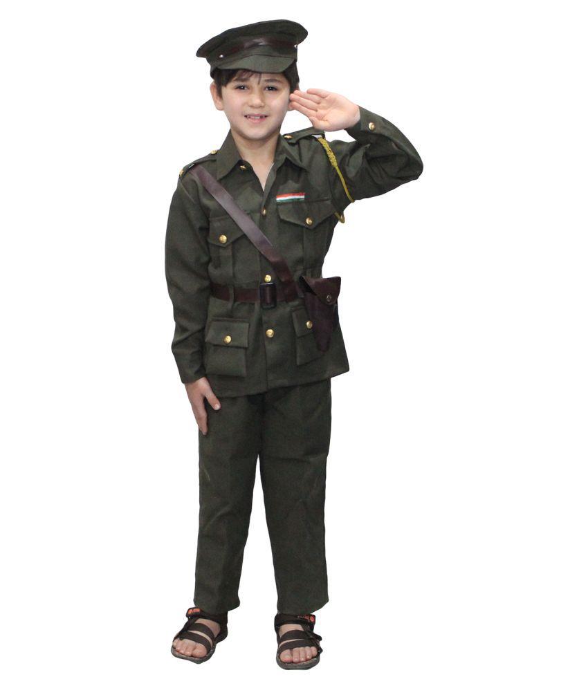 Kaku Fancy Dresses Our Helper/National Hero Indian Army Costume -Green, 7-8 Years, for Boys & Girls