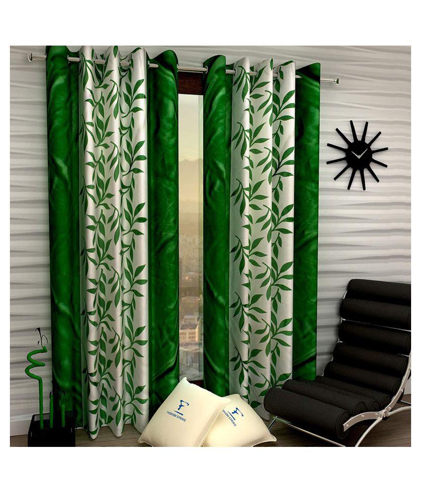 Vikas Trading Set of 2 Door Semi-Transparent Eyelet Polyester Curtains Green