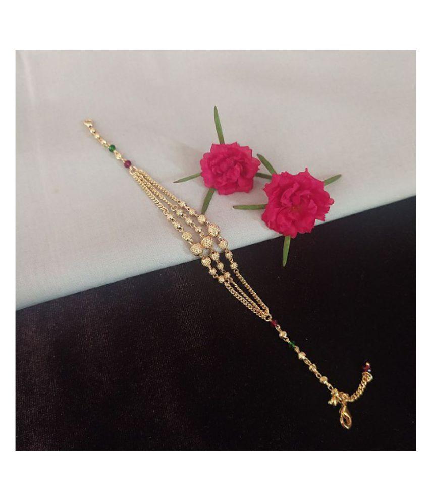 Ankur delicate gold plated crystal moti bracelet for women and girls
