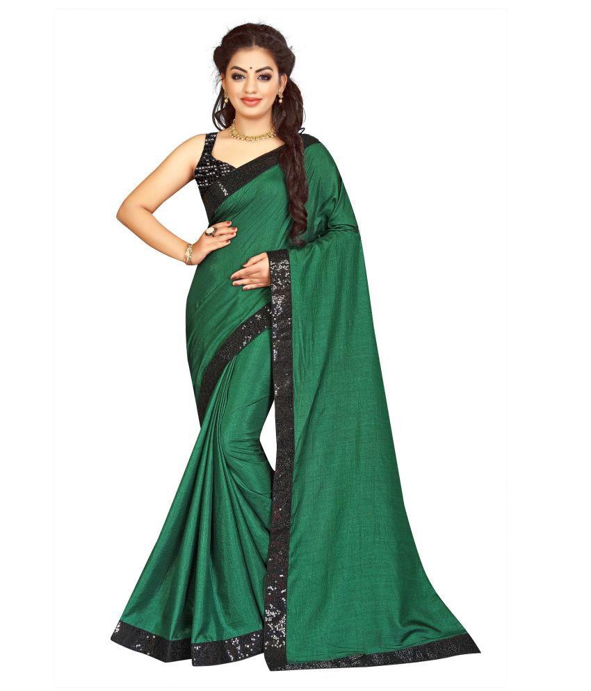 krishnashray Green Vichitra Silk Saree