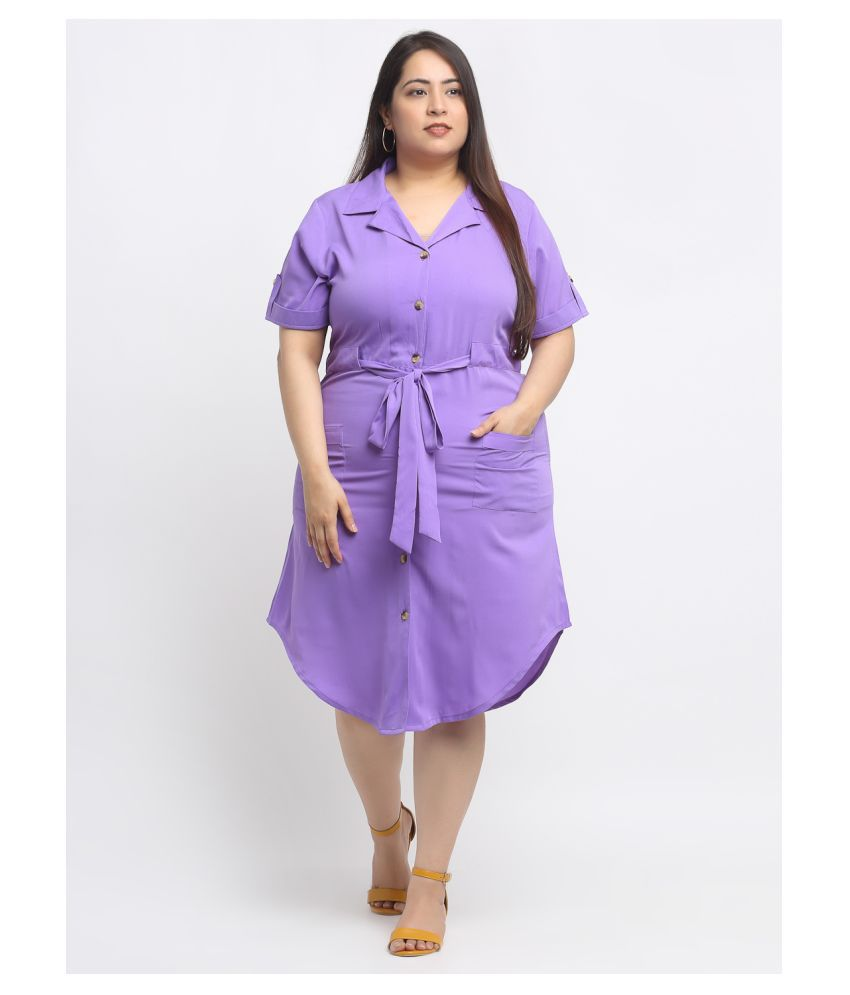FLAMBEUR Crepe Purple Fit And Flare Dress