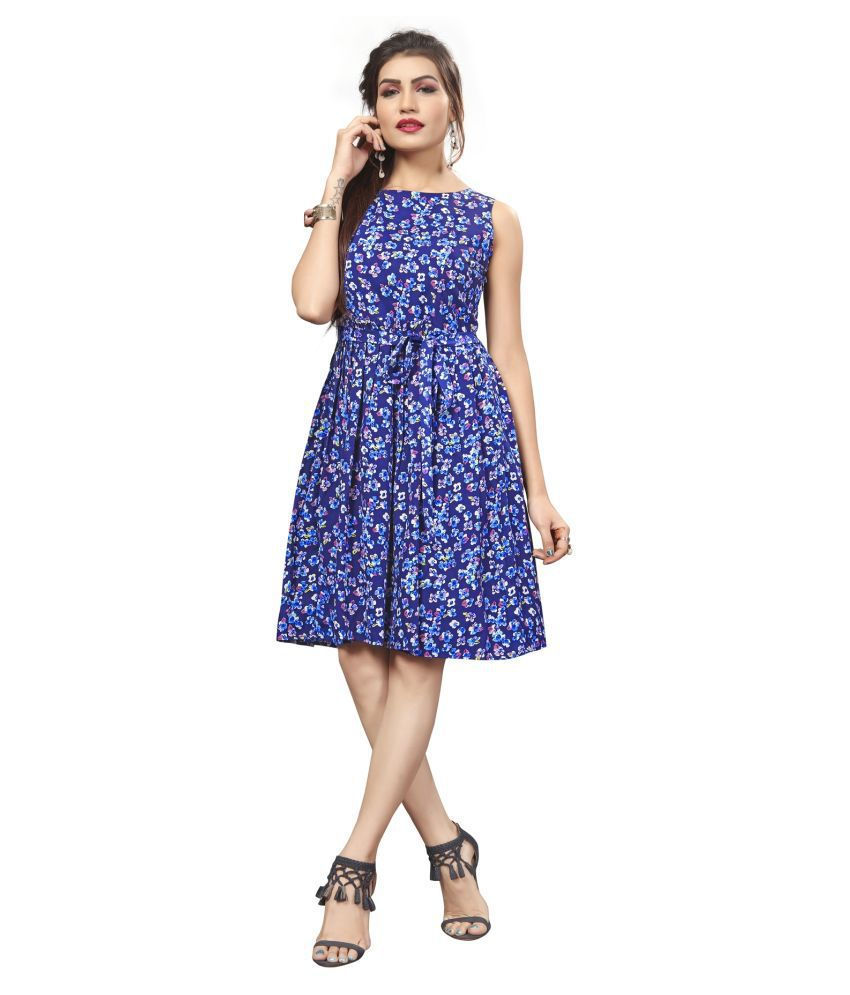 HivaTrendz Crepe Blue Skater Dress