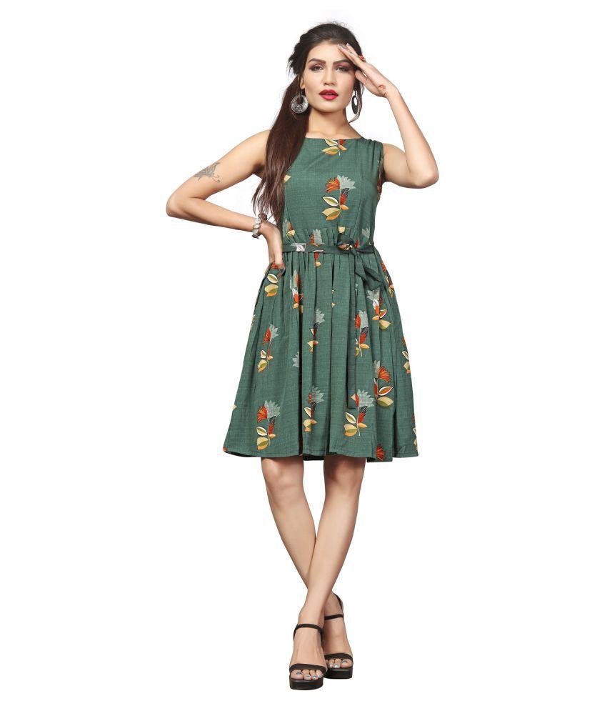HivaTrendz Crepe Green Skater Dress