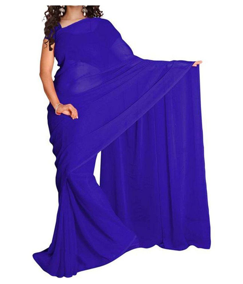 Ekam Art Blue Georgette Saree