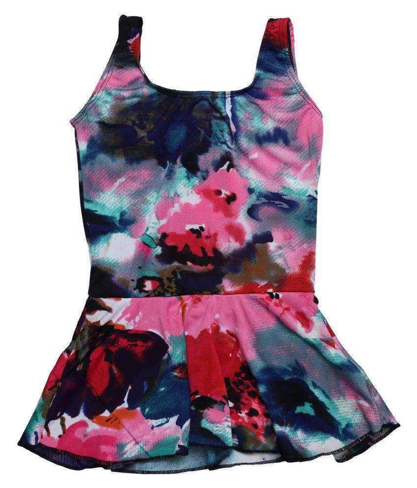 Cukoo Multicolor Printed Kids Swimsuit