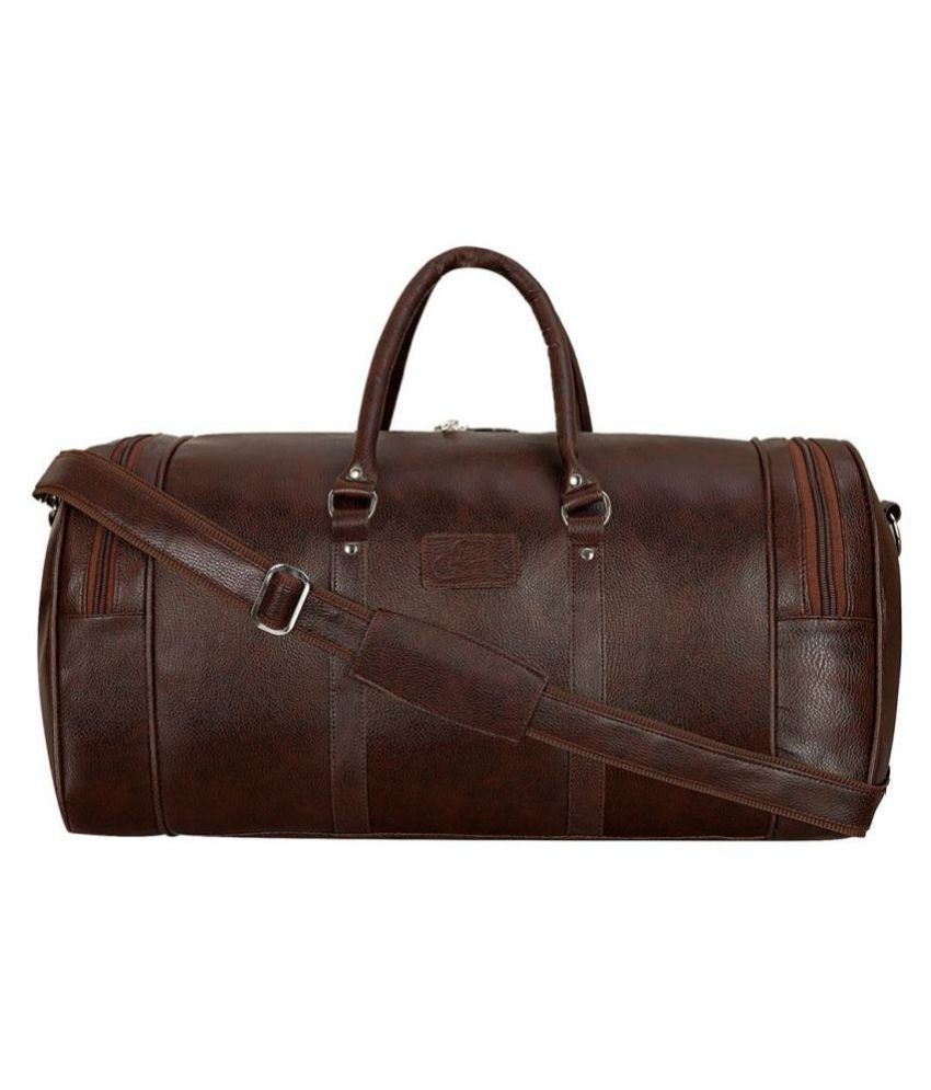 Leather World Brown Solid M Duffle Bag