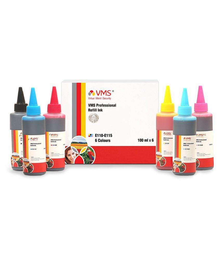VMS Prof. Multicolor Pack of 6 Ink bottle for All Inkjet Printers And best result in Epson Printer